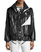 Patchwork Tech Wind-Resistant Jacket with Drawcord Back, Black/White
