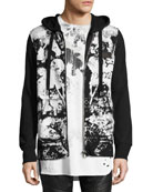 Abstract Paint-Splatter Zip-Front Hoodie, Black