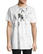 Waning Moon Distressed T-Shirt, White
