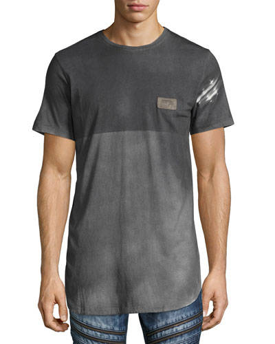 Reflector Two-Tone Elongated T-Shirt, Gray