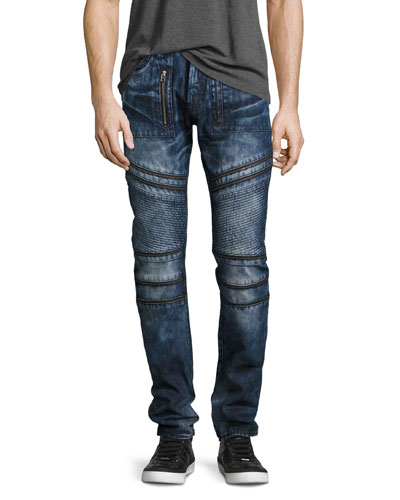 Demon Moto Slim-Straight Jeans, Krill Dark Wash (Indigo)
