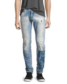 Demon Distressed Patchwork Slim-Straight Jeans, Riptide Light Wash