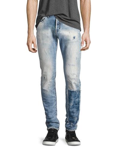 Demon Distressed Patchwork Slim-Straight Jeans, Riptide Light Wash