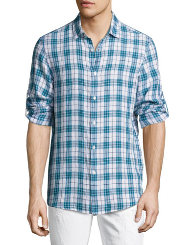 Alexander Slim-Fit Linen Sport Shirt, Blue