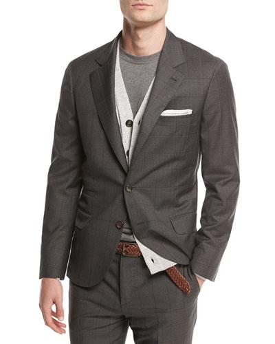 Windowpane Check Two-Piece Suit, Medium Gray