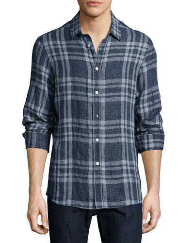 Tailored-Fit Linen Sport Shirt, Navy