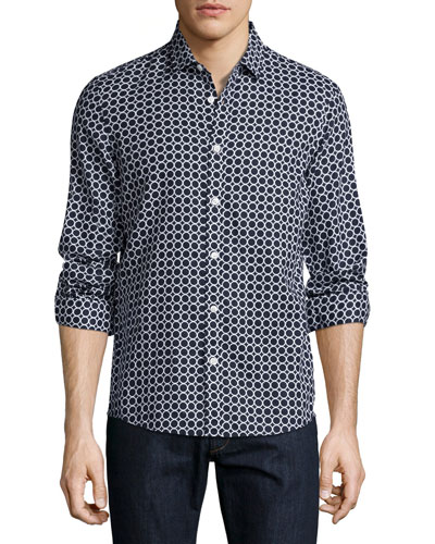 Circle-Print Slim-Fit Sport Shirt, Navy