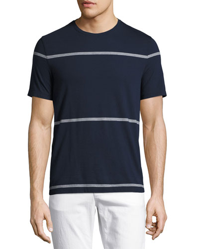 Striped Merino Crewneck T-Shirt, Navy
