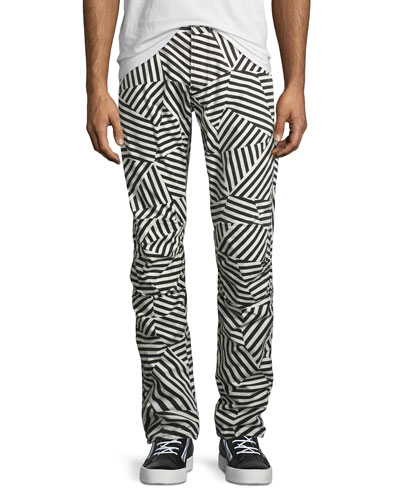 Elwood X25 Dazzle Camouflage 3D Tapered Jeans, Black/White
