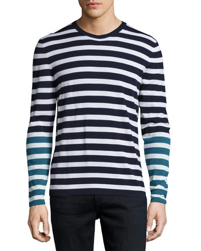 Nautical-Stripe Long-Sleeve T-Shirt, Navy