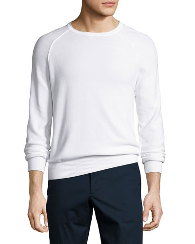Roll-Neck Cotton Raglan Sweater, White