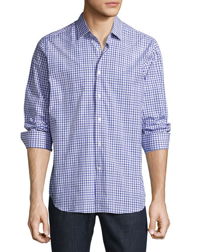 R by Robert Graham Gianmarco Gingham Sport Shirt, Blue