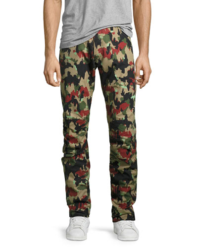 Elwood X25 Alpenflage Camouflage 3D Tapered Jeans, Black/White/Red