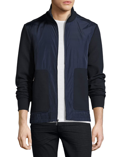 Knit & Tech Zip-Front Track Jacket, Navy
