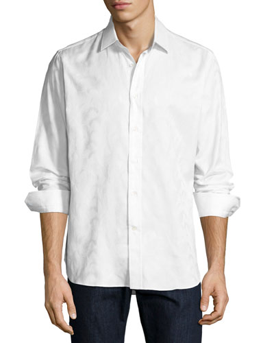 R by Robert Graham Jungle Tonal Jacquard Sport Shirt, White