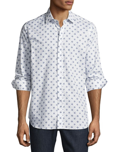 R by Robert Graham Chess Board Sport Shirt, White