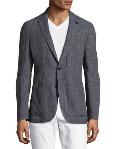 Wool-Linen Two-Button Blazer, Navy