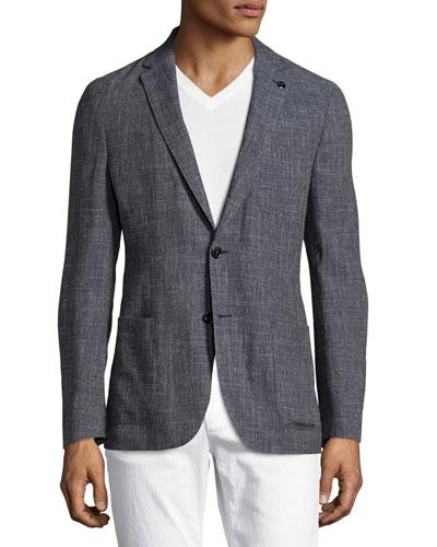 Wool-Linen Two-Button Blazer, Navy