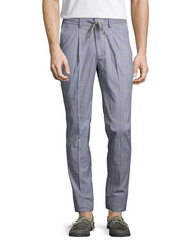 R by Robert Graham Drawstring Glen Plaid Pants, Blue