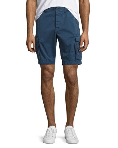 Cotton-Twill Cargo Shorts, Navy