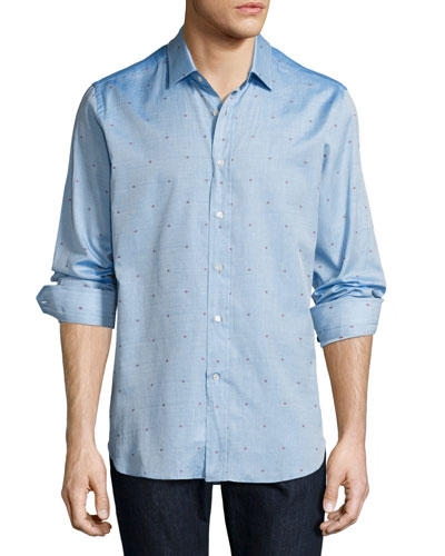 R by Robert Graham Sweet Lips Embroidered Sport Shirt, Turquoise