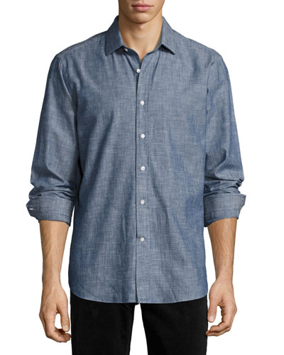 R by Robert Graham Peperill Chambray Sport Shirt, Indigo