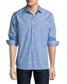 R by Robert Graham Lauren Gingham Sport Shirt with Skull Embroidery, Blue