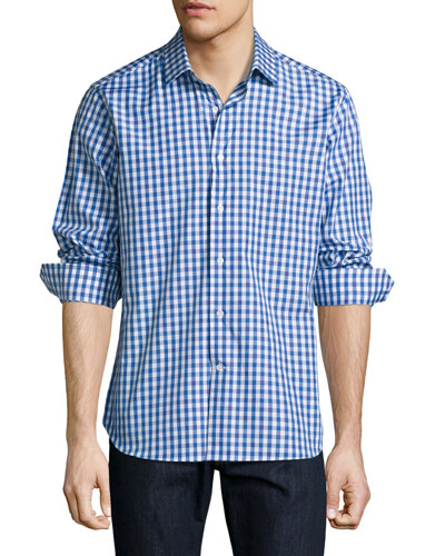 R by Robert Graham Lauren Gingham Sport Shirt with Skull Embroidery, Blue ...