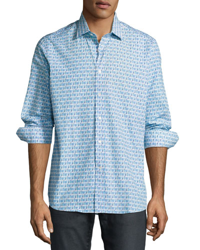 R by Robert Graham Surfboard Sport Shirt, White/Blue