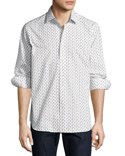 R by Robert Graham Scooter-Print Long-Sleeve Sport Shirt, White