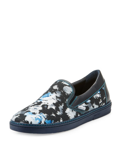 Grove Men's Floral Shantung Slip-On Sneaker, Black/Blue