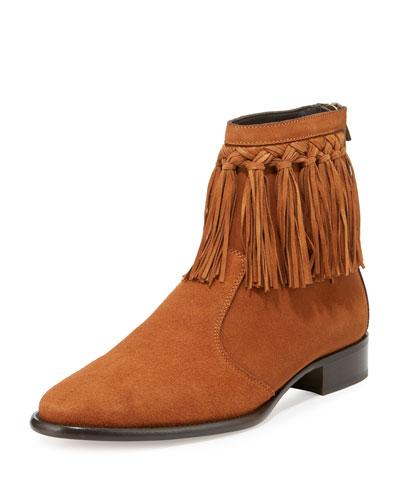 Eric Men's Dry Suede Fringe-Trim Ankle Boot, Tan