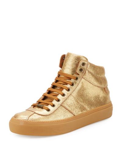 Men's Belgravia Metallic Leather High-Top Sneakers, Gold