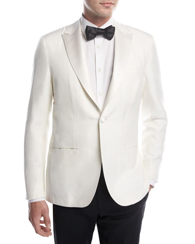 Doupioni Peak-Lapel Dinner Jacket, White