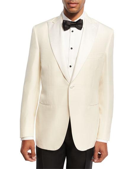 Brioni Satin-Lapel Silk Dinner Jacket, White
