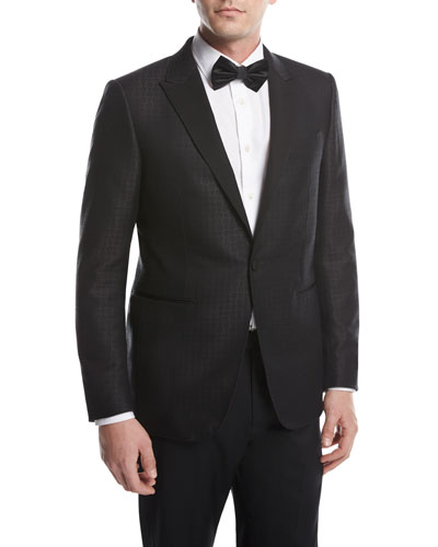 Box Jacquard Tuxedo Jacket, Black