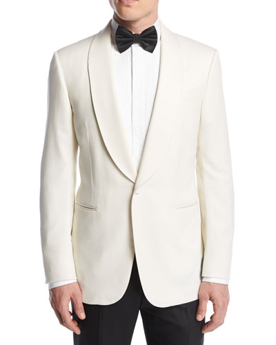 Satin-Collar Dinner Jacket, White