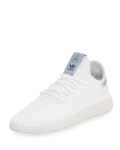 x Pharrell Williams Men's Hu Race Tennis Sneaker, White/Blue