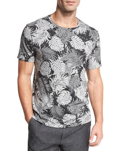 Leaf-Print Crewneck T-Shirt, Black
