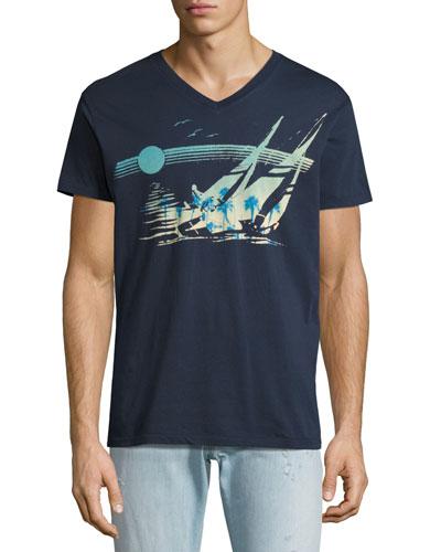 Moonshadow V-Neck T-Shirt, Indigo