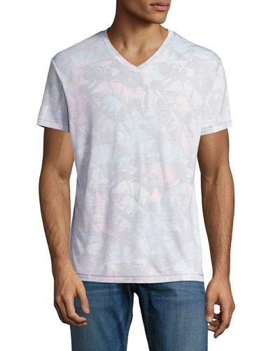 Paloma Tropical Leaf V-Neck T-Shirt, Multicolor