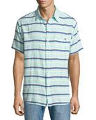 Grotto Striped Short-Sleeve Sport Shirt, Green