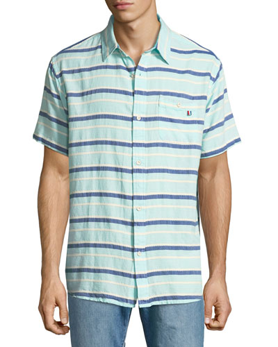 Grotto Striped Short-Sleeve Sport Shirt, Green