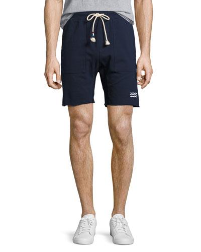 Waves Cutoff Sweat Shorts, Indigo