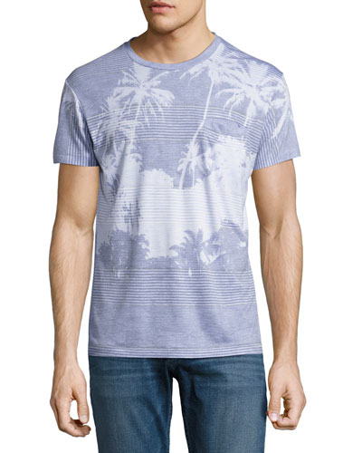 Cabana Palm Tree Fine-Stripe Pocket T-Shirt, Blue