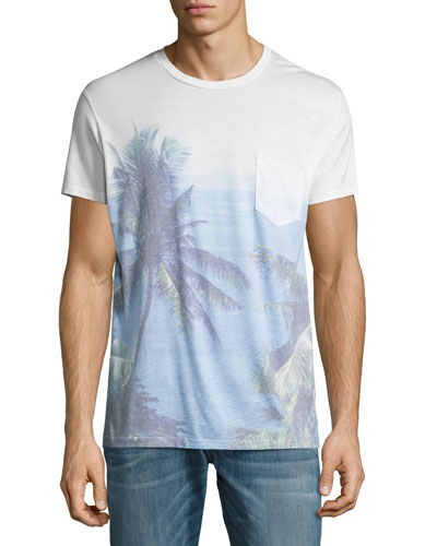 Paraiso Palm Tree Pocket T-Shirt, Blue
