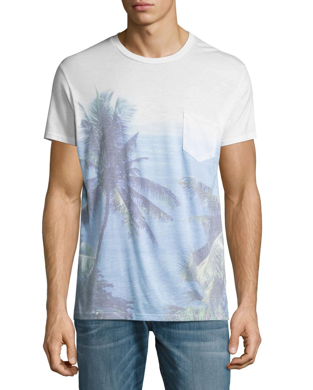 Paraiso Palm Tree Pocket T-Shirt, Blue