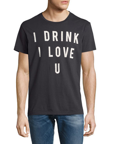 I Drink I Love U Crewneck T-Shirt, Black