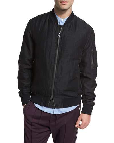 Linen-Silk Flight Jacket, Black