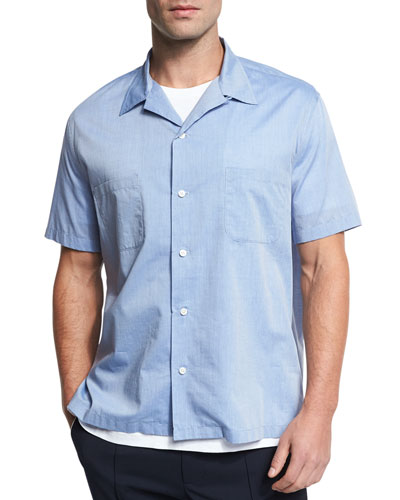 Cabana Italian Cotton Short-Sleeve Shirt, Vintage Blue